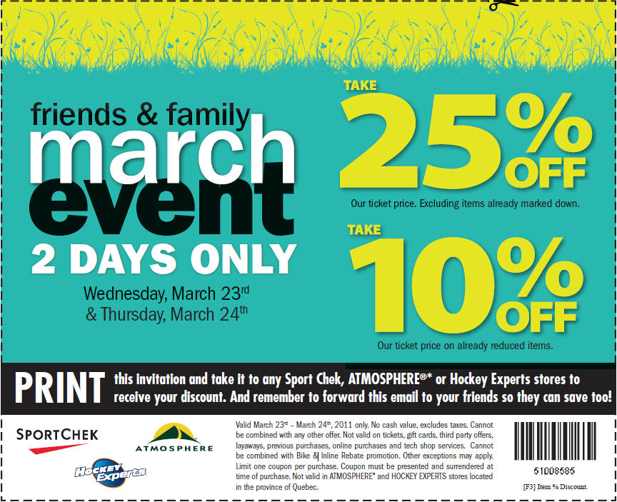 Atmosphere & Sport Check 25% Off Friends and Family Sale – March 24
