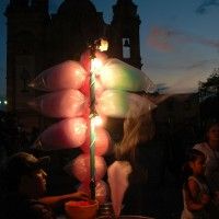 Candy floats into the night sky