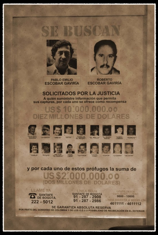 Pablo Escobar and Roberto Escobar's Wanted Poster