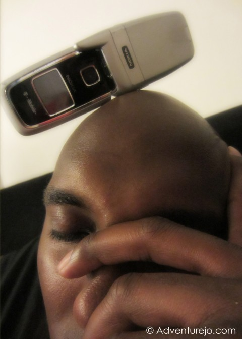 Phone on head