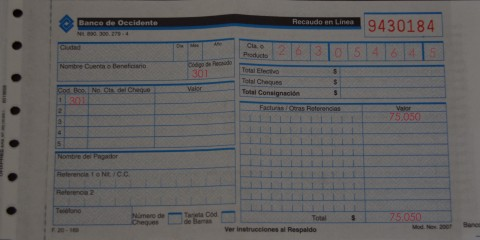 Bank Form from Banco Occidente