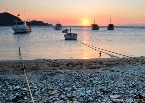 Sunset with boats in Taganga