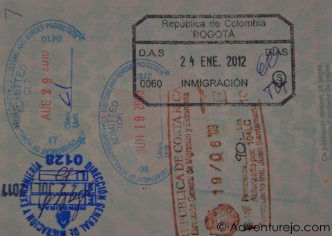 passport with colombia stamp