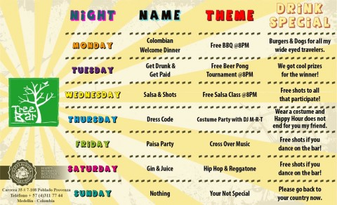 Tree Bar Weekly Schedule